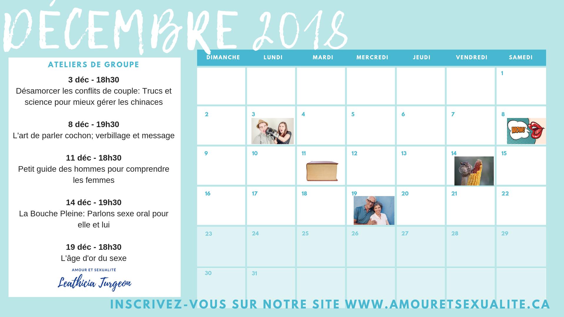 Calendrier des activités de groupe oct-nov-déc 2018